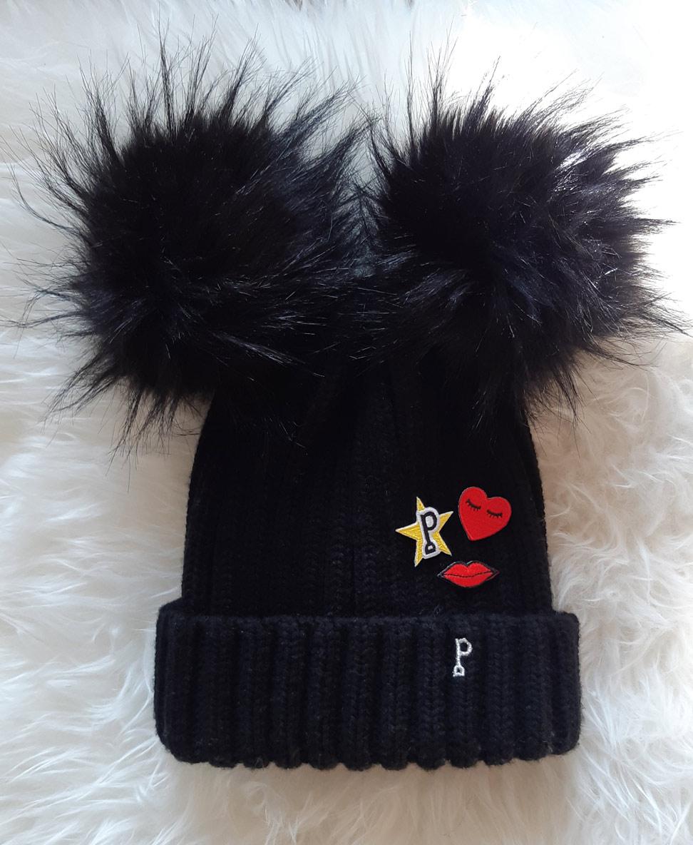 bonnet pompon noir avec patches - triple