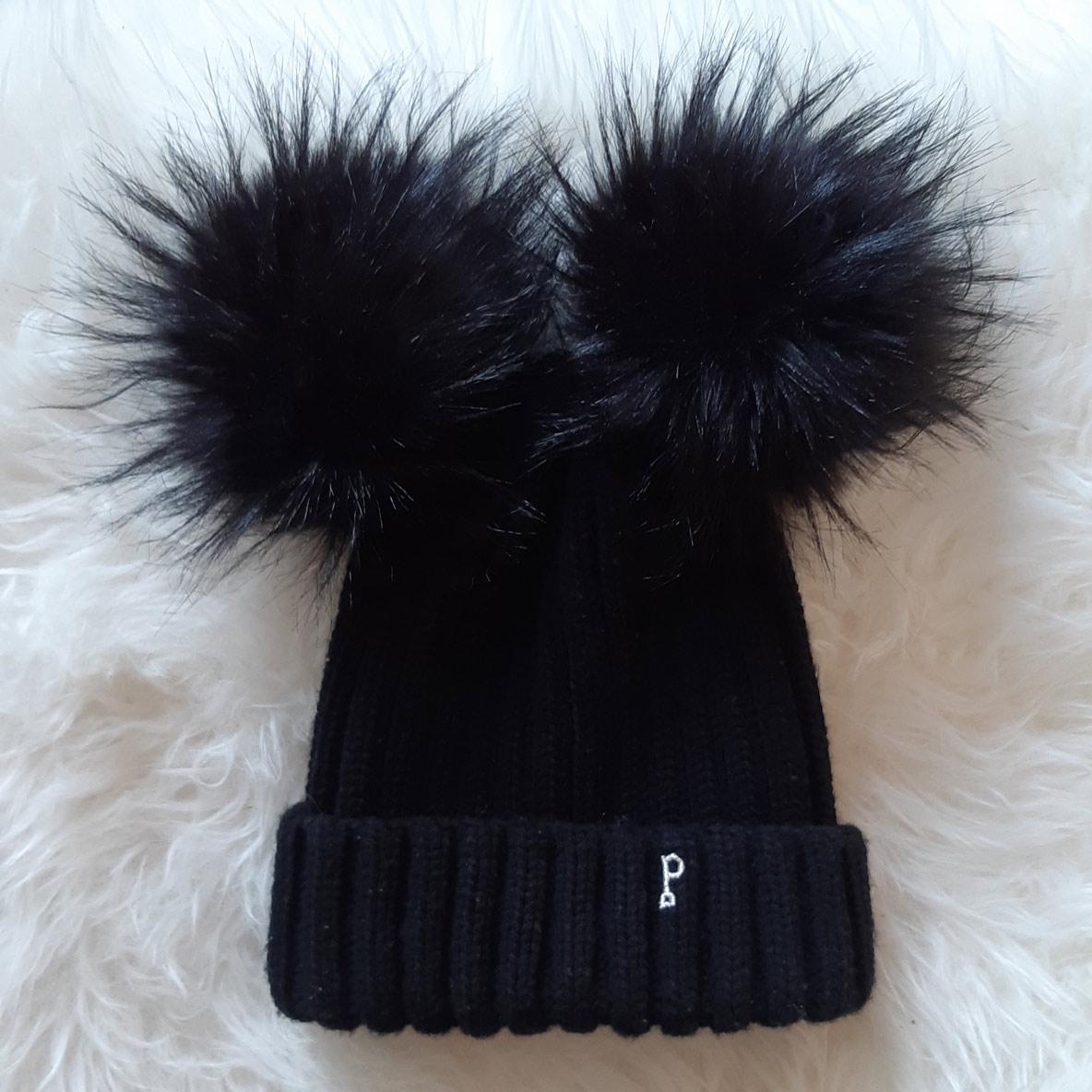 bonnet pompon noir - triple