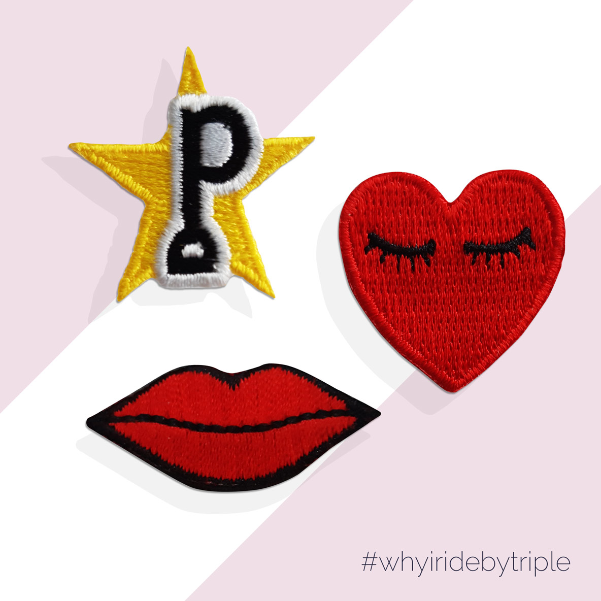 Patchs Thermocollants Lips-Sweet Heart & Logo Star - Triple